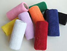 SINGLE OR PAIR OF EXTRA WIDE 12cm GYMNASTIC COTTON SWEAT WRIST BAND  HAND GUARDS