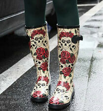 Rose Skull Print Graffiti Buckle Rubber Flat Mid Calf Waterproof Snow Rain Boots