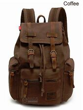 Canvas Leather Backpack Travel Outdoor Rucksack Camping Trekking Hiking Bag New