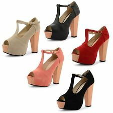 New Ladies Peep Toe Concealed Platform Wooden Heel Evening Party Shoes UK Size
