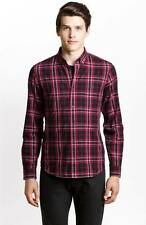 New Armani Exchange AX Mens Slim/Muscle Fit Red Plaid Button Front Shirt