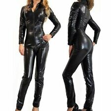 Sexy Black Goth Overall Catsuit Punk Unisex Wetlook Jumpsuit Fancy Costume M-3XL