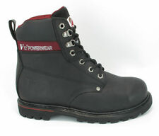 MENS V12 POWERWEAR LEATHER BLACK WORK STEEL TOE CAP BOOTS,V1235 BOULDER