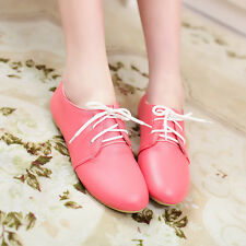 Womens Girls Causual Creeper Shoes Flat Heels Lace Up Snug Faux Leather Shoes