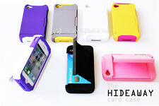 iPhone 4S/4 Hideaway Card Case Dual Hybrid Silicone and PC with Standing Feature