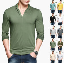 Mens Basic Tee Long Sleeve Fashion V neck Solid Color Casual T-Shirt Slim Fitted