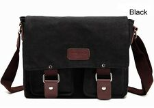 New Men's Vintage Canvas School Satchel Military Laptop Shoulder Messenger Bag