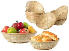 Set Of Natural Wicker Round Hamper Bread Fruit Gift Storage Bamboo Baskets Trays
