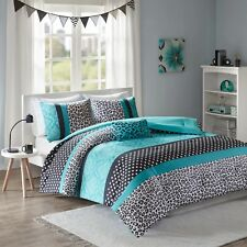 MODERN POLKA DOT ZEBRA ANIMAL STRIPE CHEETAH TEAL BLUE PINK BLACK COMFORTER SET