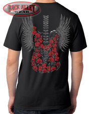 Roses & Bones Guitar Wings T-SHIRT M-3XL Rock Star Style Music Backbone COOL!