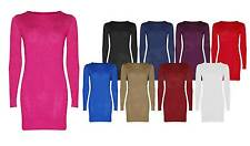 Ladies Girls Scoop Neck Long Plain Bodycon Top Stretch Plus Size Tunic Dress