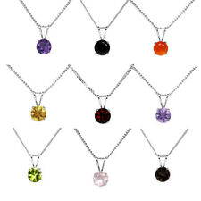6mm ROUND GENUINE GEMSTONE 925 STERLING SILVER PENDANT + CURB CHAIN / NECKLACE