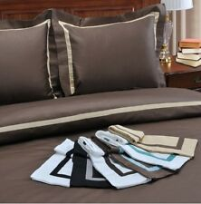 Duvet Cover Bedding Set 300 Thread Count 100% Bordered Cotton Sateen