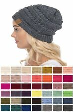 New Womens Knit Slouchy Beanie CC Oversized Thick Cap Hat Unisex Slouch Color