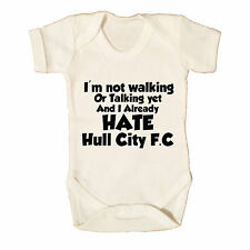 I HATE HULL CITY FC FUNNY BABY GROW  - FOOTBALL - BABYWEAR BOYS GIRLS BABY GROW