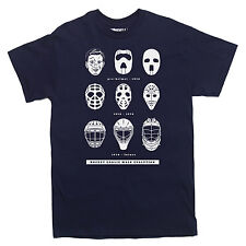 HOCKEY GOALIE MASK EVOLUTION T-shirt history sports MEN'S SIZES S-XXL
