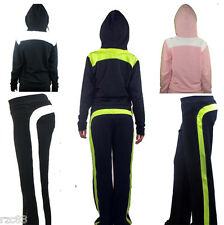 LADIES WOMENS/GIRLS JOGGING YOGA ZIP UP HOODIE FULL TRACKSUIT SPORTSWEAR SIZE