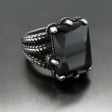 Mens Silver Dragon Claw Black Cubic Zirconia 316L Stainless Steel Biker Ring