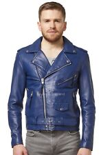 BRANDO Men's Blue Classic Fitted Motorcycle Biker Napa Soft Real Leather Jacket
