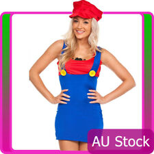 Womens Super Mario Luigi Brothers Plumber Fancy Dress Up Party Costume + Hat