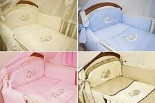 5 Pce Embroidered Baby Nursery Bedding Set To Fit Cot/ Cot Bed - Sleeping Bear