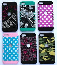 Colorful Heavy Duty Hybrid Hard & Soft Rubber Case Cover for iPod Touch 5th Gen