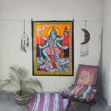 hindu death goddess kali shiva sequin wall hanging ethnic decor tapestry art
