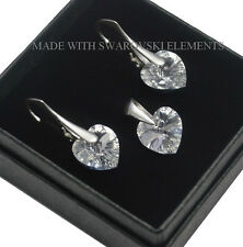 *HEART* 925 Silver Earrings made with Swarovski Crystals - COLOURS - 10 mm