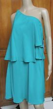 Suzi Chin for Maggy Boutique Teal One Shoulder Layer Dress Sizes 6 8 12 NWT