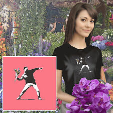 banksy t.shirts flower thrower t.shirt rioter hooligan street art graffiti