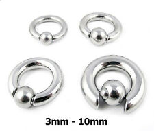 HEAVY LARGE GAUGE BCR SURGICAL STEEL SNAP FIT BALL CLOSURE RING PA PRINCE ALBERT