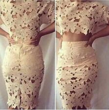 Sweetheart 2 Piece Pencil skirt crop top lace skirt set. White n mint available