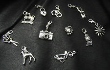 Clip on Charms for Bracelet - Lots to choose,50 shades clip ons - Tibetan Silver