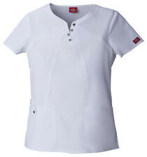 Dickies Xtreme Stretch Notched Round Neck Top 82802 (White) Size XS to 3X