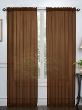 Voile Window Sheers 2 Curtain Panels White Taupe Black Ivory Chocolate 38x84