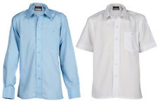 Pack of 2 Boys School Shirts * White & Blue Available * Long & Short Sleeves