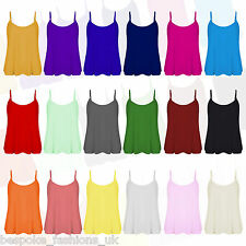 WOMEN'S SPAGHETTI STRAP PLAIN CAMISOLE LADIES SWING TANK TOP TEE PLUS 8-22