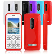 ULTRA THIN S LINE WAVE GEL GRIP CASE COVER FOR NOKIA ASHA 206 & SCREEN PROTECTOR