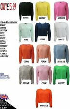 NEW WOMENS LADIES CROP TOP LONG SLEEVE JUMPER 8-14 SALE SAVE £1 FOR EVERY 2 ITEM