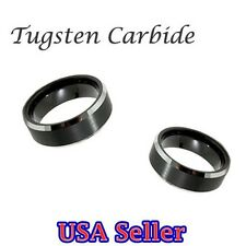 NEW! Tungsten Carbide Ring 2 Tone Step Edges Wedding Band 8MM Wide Mens Jewelry