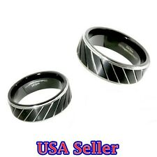 New Tungsten Ring Black & Chrome Step Edges Wedding Band 8MM Wide Mens Jewelry
