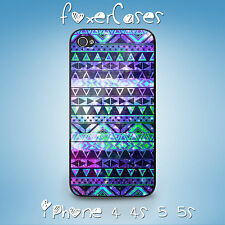 Vintage Aztec Geometric Tribal Blue Hard Case Cover for iPhone Samsung Galaxy