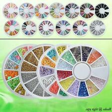3D Mixed Fimo Clay Rhinestone Slice Nail Art Tips UV Acrylic Decoration Wheel