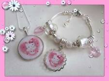SUPER GORGEOUS LITTLE GIRLS HELLO KITTY SILVER NECKLACE BRACELET OR SET