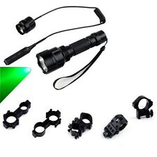 110Yd 300LM Green LED Hunting Light Tactical Flashlight w/ Pressure Switch Mount