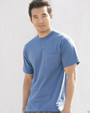 6 Hanes Beefy Cotton T-Shirts with Pocket 5190 6 Pack S-3XL Wholesale NEW