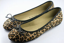 Womens Comfy Ballet Flats Casual Leopard Print Bow Flat Shoes (Brown) x 1pair