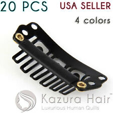 20 PCS 6-teeth U-shape Silicone Snap Hair Wig Clips Extensions - USA QUICK SHIP!