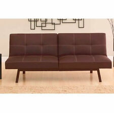 Faux Leather Split Back Futon Sofa Bed Twin Size Sleeper Lounger Room BLACK NEW