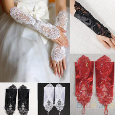 Bride Wedding Party Dress Fingerless Pearl Lace Satin Bridal Gloves Mittens B94U